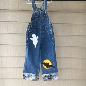 Old Navy Kid Overall Sz 4/5 Patches Cat Ghost A4🌷